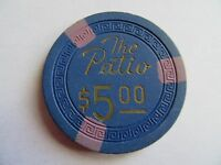 Casino  Chip 1954 The Patio $5.00 Las Vegas Nevada  Blue Poker Chip Rare