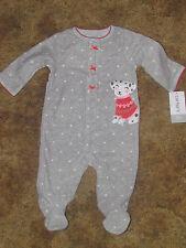 Girls Carter's NWT gray fleece long sleeved dalmation 1 pc. pajamas size 3m
