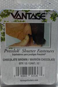 Vantage Presslok Shutter Fasteners Chocolate Brown 12 In A Pack New In Pack
