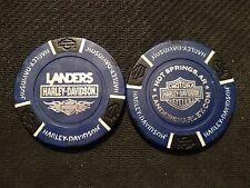 "Harley Poker Chip  (Blue & Black) ""Landers Hot Springs"" AR. CLOSED DEALER"