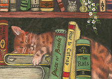 ACEO RYTA PRINT OF PAINTING BENGAL TABBY CAT FOLK ART WHIMSICAL BOOKS OWL FLOWER