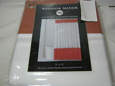 New WM Windsor Manor Color Block Fabric Shower Curtain Copper / Rust White 72x72