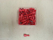 100 Pc ELECTRICAL CRIMP TERMINALS RED FULLY INSULATED FEMALE SPADE 12 Volt  4x4