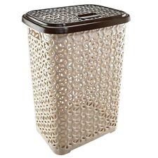 60 Liter Hollow Design Clothes Hamper Laundry Basket,Made In Turkey,Beige/White