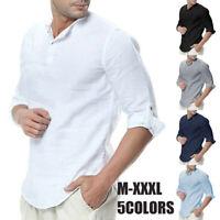 US Men's Linen Dress Shirt Long Sleeve Button Down Casual T-shirt Tops Blouse
