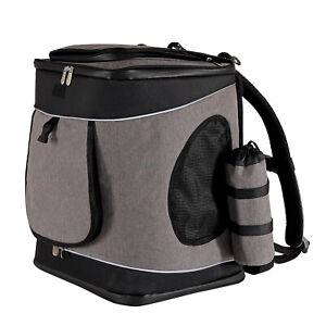 Hunderucksack Hundetransporttasche Haustiertragetasche Farbe grau/schwarz