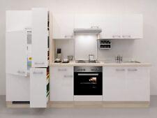 Küchenzeile P-300 Ancona glänzend WEISS Akazie Dekor