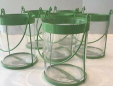 Six Light Green Metal & Glass Jugs Each With A Wire Hanger