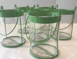 Six Light Green Metal & Glass Jugs Each With A Wire Hanger