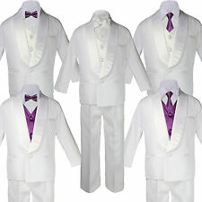 5-7pc Boy White Satin Shawl Lapel Suits Tuxedo Eggplant Satin Bow Necktie Vest