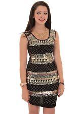 Ladies Sleeveless Shiny Sequin Aztec Print Smart Party Bodycon Mini Dress