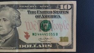 Rare Fancy Serial Number $10 2013 Double Quad Note MD 44445555 B