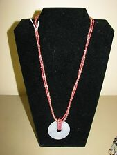 w hot pink seed beads New Handmade necklace Blue Jasper pendant