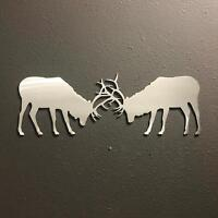 "Elk 12"" by 5"" Aluminum Metal Wall Art Skilwerx"