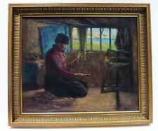 """c1900 TUNISIA  OIL PAINTING BY CARL SMITH - """"SPINNING WOOL"""" PORT BIZERTE LISTED"""