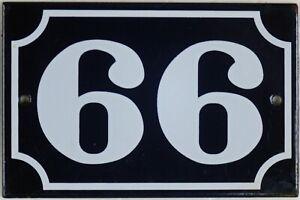 Blue French house number 66 99 door gate plate plaque enamel steel metal sign