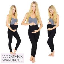 Womens Black Maternity Full Length Cotton Leggings Pregnancy V1