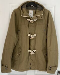 """Mens 100% Cotton Canvas Duffle Coat By NEXT XXL 54"""" Chest Toggle Hooded Full Zip"""