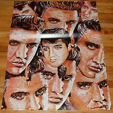 ELVIS PRESLEY Montage Face Art Collage 29x39 Poster 1970's Personality England