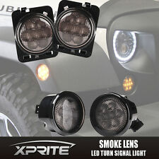 Xprite LED Turn Signal W/ Fender Side Light Smoke Lens for 07-17 Jeep Wrangler