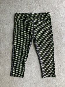 UNDER ARMOUR Compression HeatGear Geometric purple lime green capris leggings L