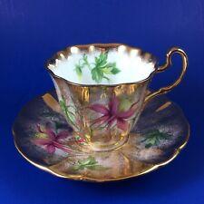 Adderley Columbine Heavy Gold Fine Bone China Tea Cup And Saucer