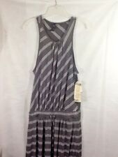 Seven 7 Women's Maxi Dress Charcoal Gray White Stripes Sz L Drawstring Waist NWT
