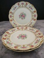 ROYAL BAYREUTH BAVARIA GOLD SCROLLS PINK SECTION ROSES & FLOWERS 3 DINNER PLATES