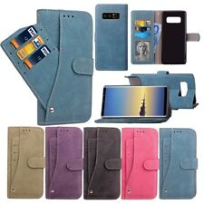 For Samsung Note 8 S8 Plus S7 Rotating Flip Leather Wallet Matte Card Case Cover
