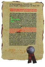Certificate: Deed with YOUR NAME > German Beer Purity Law Document from 1516