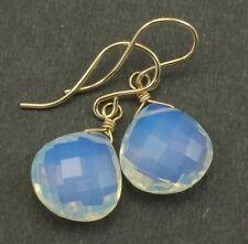 14k Solid Gold Opalite Earrings Faceted Heart Teardrops Drops Rainbow Sterling