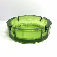 "Vintage Green Glass Round Pebbled Ashtray 6"" MCM Decor"