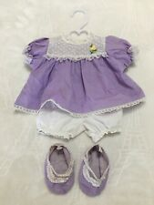 Vintage Made For Cabbage Patch Kids Clothes Doll Cpk Outfit Dress Booties 4pc