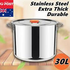 30L Stockpot Kitchen Set Stock Pots Cooking Stainless Steel Cookware Casserole