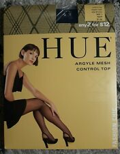 HUE Argyle Mesh Control Top Navy Size 1 Nylons Style #7025