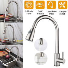 Brushed Nickel Kitchen Faucets with Pull Down Sprayer Commercial Stainless Steel