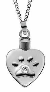 Heart Shaped Paw Print Ash Memorial Pendant (46505) NEW from AngelStar