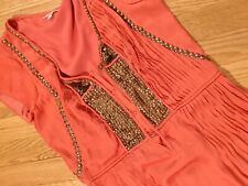 Calypso St Barth Orange Coral Pure Silk Pleated Gold Stud Dress Size XS
