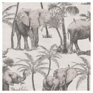Arthouse Jungle Palm Elephant Grove Charcoal Metallic Luxury Wallpaper 610702