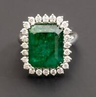 925 Sterling Silver Natural Colombian Emerald Octagon Cut Gemstone AD Ring