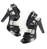 White House Black Market WHBM Size 8.5 M Black Leather Lido Sandals Heels Braid