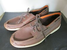 Timberland Mens Shoes 2 Eye Boat Deck Moc Loafers Dark Brown Leather Size 11.5 M
