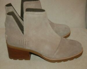 New Sorel Women's Cate Cut Out Bootie Waterproof Ankle Boot Ash Brown Size 6