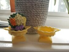 FISHER PRICE Loving Family Dollhouse Replacement 2 Yellow Urn & 1 Potted Flower