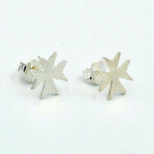 Sterling Silver 925 Amalfi Maltese Cross Stud Earrings Knights of Malta Gift
