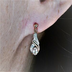 NATURAL MORGANITE EARRINGS GENUINE DIAMONDS 9K 375 ROSE PINK GOLD GIFT BOXED NEW
