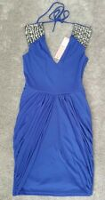 Bnwt💎Lipsy💎Size 8 Cobalt Blue Embellished Shoulder Dress,Party Drape Skirt New