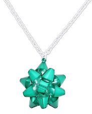 "Green Metal CHRISTMAS BOW NECKLACE on 18"" Chain, Periwinkle by Barlow"