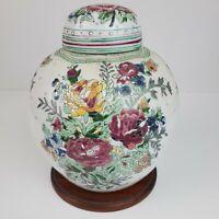 Vintage Lidded Vase Ginger Jar Hand Painted Roses Flowers 8.5 In /w Lid & Stand