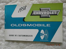 1958 Chevrolet /Oldsmobile Rare Factory GM Owners Manual Canadian Edition French